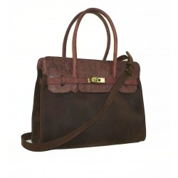 Leather handbag bag Ilita in two tones dark brown and distressed brown leather crossbody purse