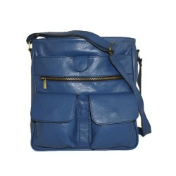 Leather crossbody messenger bag Iris in blue