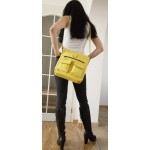 The Leather crossbody bag Iris in bright yellow leather shoulder crossbody bag image