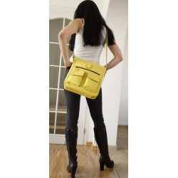 Leather crossbody bag Iris in bright yellow leather shoulder crossbody bag