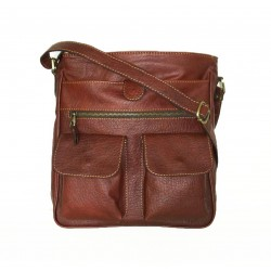 Leather crossbody bag Iris in brown leather shoulder crossbody bag
