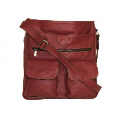 Leather crossbody bag Iris in cherry red leather shoulder bag