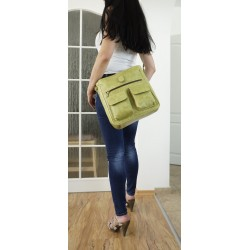 Leather crossbody bag Iris in distressed apple green leather shoulder crossbody bag