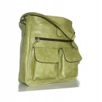 The Leather crossbody bag Iris in distressed apple green leather shoulder crossbody bag image