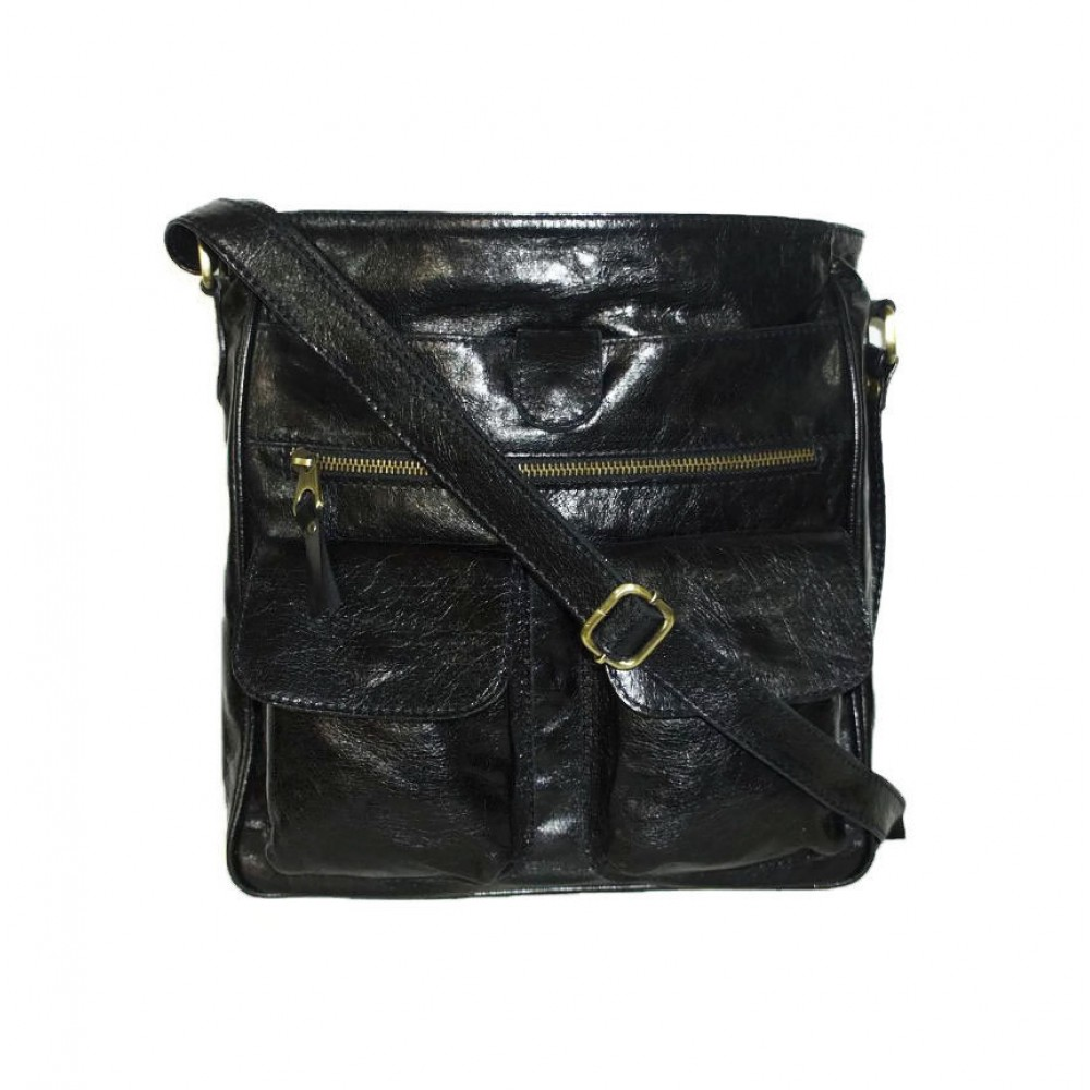 Leather Crossbody Bag Iris In Glossy Vintage Distressed Black Shoulder By Chicleather
