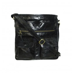 Leather crossbody bag Iris in glossy vintage distressed black leather shoulder crossbody bag