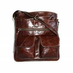 Leather crossbody bag Iris in glossy distressed brown leather shoulder crossbody bag