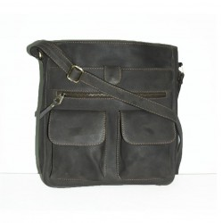 Leather crossbody bag Iris in distressed grey leather shoulder crossbody bag