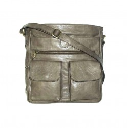 Leather crossbody bag Iris in distressed taupe leather crossbody purse