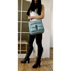 Leather crossbody bag Iris in light blue leather shoulder bag