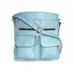 The Leather crossbody bag Iris in light blue leather shoulder bag image