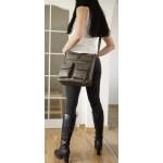 The Leather crossbody bag Iris in metallic gray leather crossbody purse image