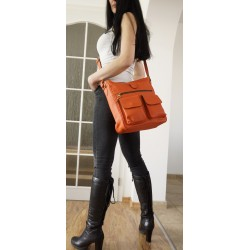 Leather crossbody bag Iris in orange leather shoulder purse