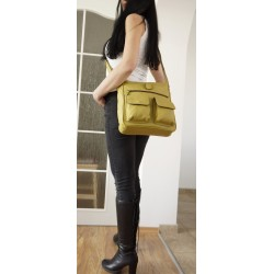 Leather crossbody bag Iris in pistachio green leather shoulder purse
