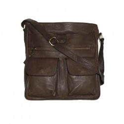 Leather crossbody bag Iris in soft mocha brown leather shoulder purse