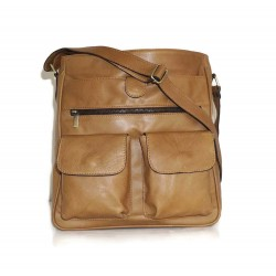 Leather crossbody bag Iris in tan leather shoulder bag