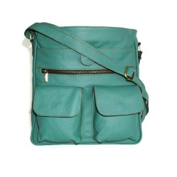 Leather crossbody bag Iris in teal green leather shoulder purse