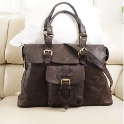 Leather satchel crossbody purse Johanna L shoulder handbag in vintage dark brown