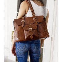 Leather satchel crossbody purse Johanna L in glossy brown leather shoulder handbag