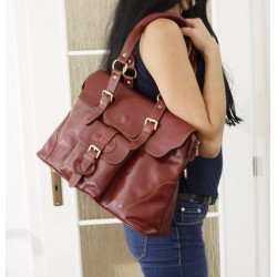 Leather satchel crossbody purse Johanna L in glossy red-wine leather shoulder handbag