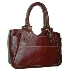 Leather tote bag  Julia L in Dark Brown leather handbag