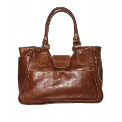Leather tote bag Julia L in distressed tan leather tote handbag
