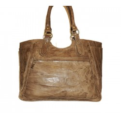 Leather tote bag Julia XL in distressed vintage taupe leather large tote handbag