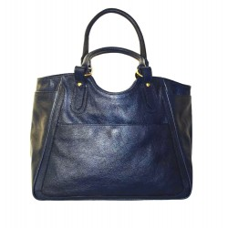 Leather tote bag Julia XL in navy blue leather tote handbag