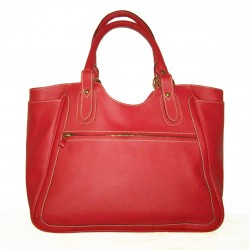 Leather tote bag Julia XL in red leather large tote handbag