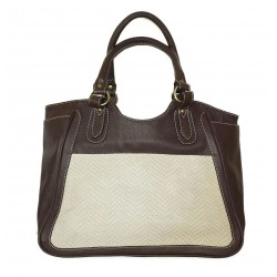 Leather tote bag Julia XL in two tones dark brown and taupe leather large tote handbag