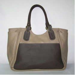 Leather tote bag Julia XL in two tones taupe and deep brown leather large tote handbag