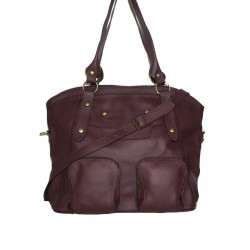 Leather tote bag Magui L in aubergine leather shoulder crossbody bag