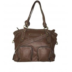 Leather tote bag Magui L in brown leather shoulder crossbody bag