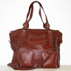 Leather tote bag Magui L in glossy mahogany brown leather shoulder crossbody bag