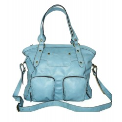 Leather tote bag Magui L in light blue leather shoulder crossbody bag
