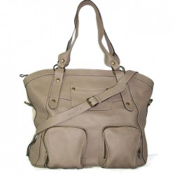 Leather tote bag Magui L in light taupe leather shoulder crossbody bag