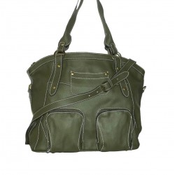 Leather tote bag Magui L in olive green leather shoulder crossbody bag