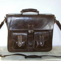leather briefcase Maor handcrafted messenger bag