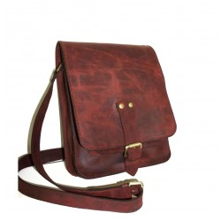 Leather crossbody bag in antic red wine leather messenger bag