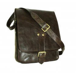 Leather crossbody bag in dark brown leather messenger bag