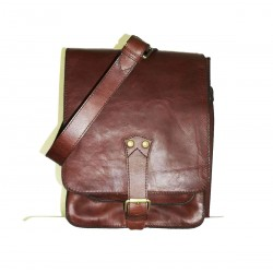 Leather crossbody bag in rustic vintage red wine leather messenger bag