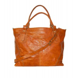 Leather tote bag Nora Bis XXL in distressed orange leather shoulder crossbody bag
