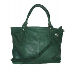 Leather tote bag Nora Bis XXL in green leather crossbody bag