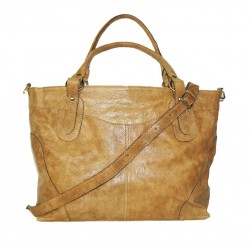 Leather tote bag Nora Bis XXL in light tan leather shoulder crossbody bag