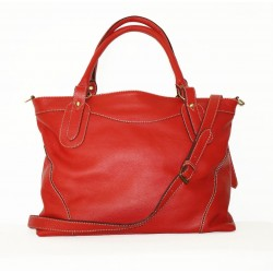 Leather tote bag Nora Bis XXL in red leather crossbody bag