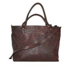 Leather tote bag Nora Bis XXL in rustic mahogany brown leather shoulder crossbody bag