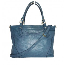 Leather tote bag Nora Bis XXL in teal blue leather crossbody bag
