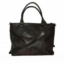 Leather tote bag Nora Bis XXL in vintage dark brown leather crossbody bag
