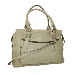 Leather handbag Rina XXL in beige leather crossbody bag