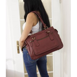 Leather handbag Rina XXL in cherry red leather shoulder crossbody bag